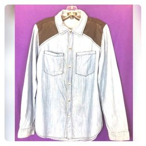 Forever 21 Denim Faux Leather Button Down Shirt
